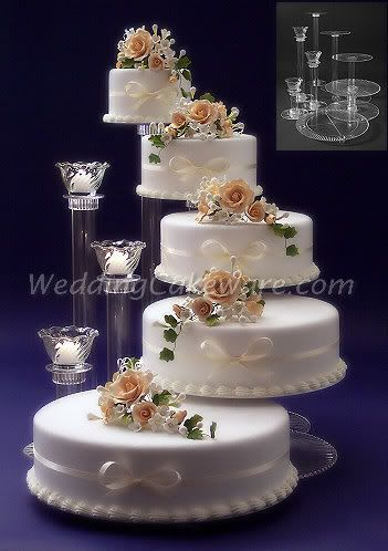 5-tier wedding cake stand with tie dye orchids instead of roses