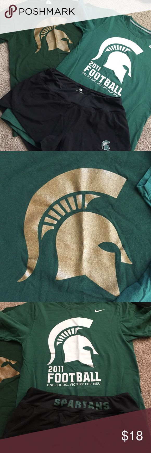 MSU bundle Michigan State University bundle. Two t shirts and a pair of shorts. Shirt with gold Spartan helmet is like new. Nike football shirt is in good used condition. Spartans shorts like new. Shirts are unisex small. Shorts are women's medium. Other MSU apparel in other posts. Tall striped socks with Spartan helmet logo included - they have been worn twice and have pilling on bottom of foot. Nike Tops Tees - Short Sleeve