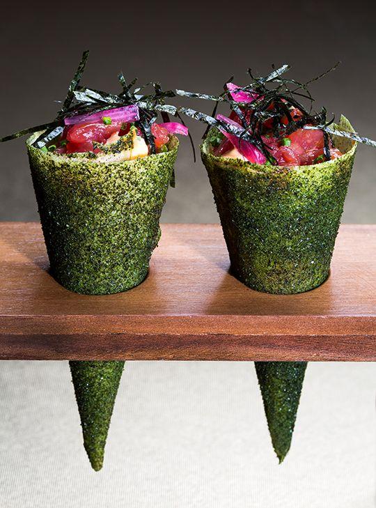 José Avillez, il rinnovatore della cucina portoghese   Mini Bar - Tuna tartar temaki cone   foto Paulo Barata