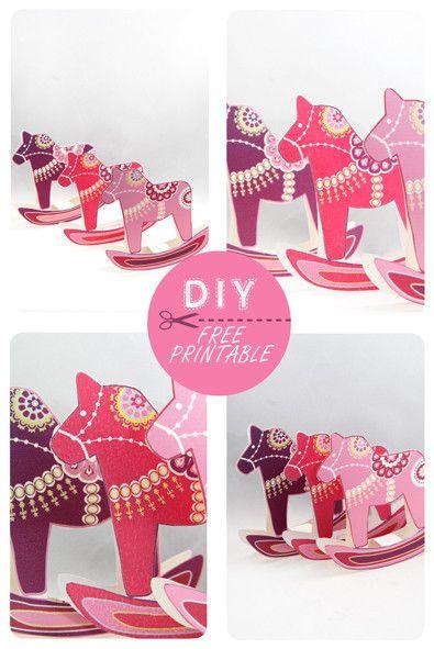 DIY:  Dala Horse Christmas Ornaments (free printable)