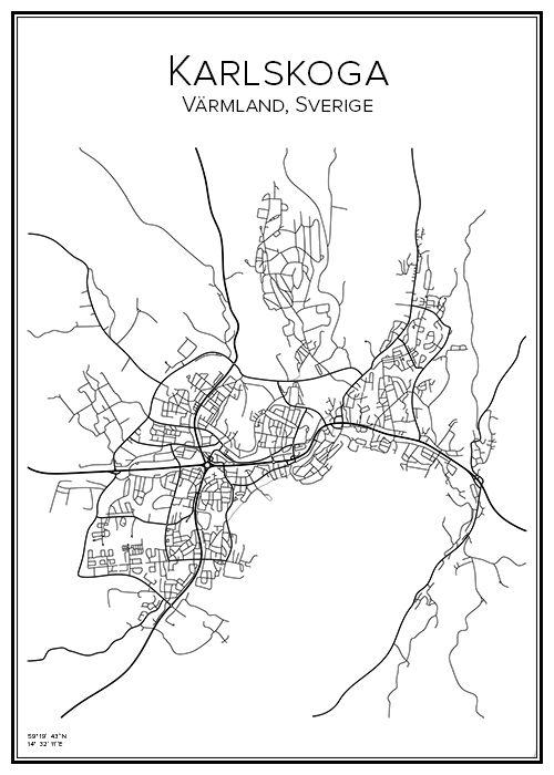 Karlskoga. Värmland. Sverige. Karta. City print. Print. Affisch. Tavla. Tryck.