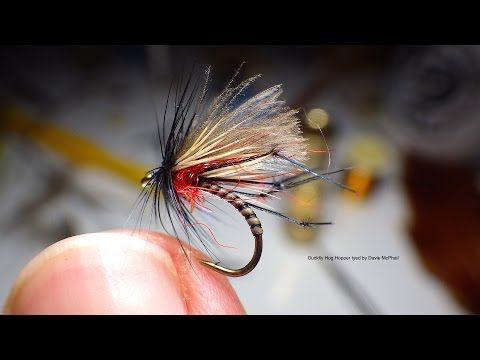 The Global FlyFisher - Duckfly Hog Hopper - Materials Used; Hook, Kamasan B160 size 12 Thread, Uni 8/0 Black or Similar Body, Natural Peacock Quill Thorax, Mixe Hot Orange and Red Seals Fur or Sub Wing, Light Coloured Deer Hair and CDC Legs, Dyed and Knotted Cock Pheasant Tail Fibres Hackle Dyed Black Cock - fly fishing video channel