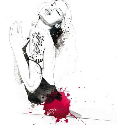 Illustration - David Despau - The Mushroom Company - woman with tatoo