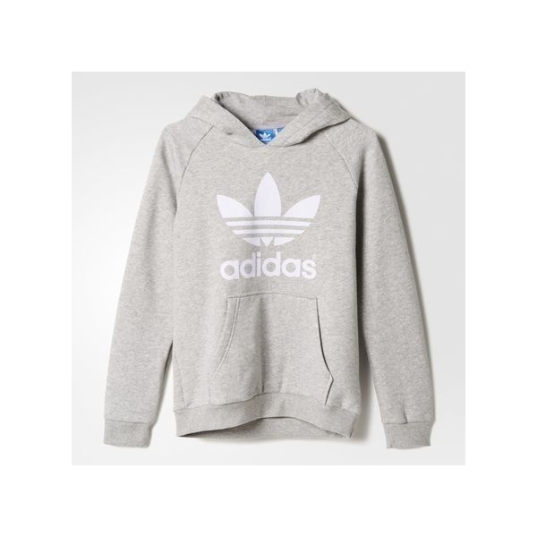 adidas Trefoil Flock Hooded Sweatshirt Medium Heather ($42) ❤ liked on Polyvore featuring tops, hoodies, fleece pullover, hooded sweatshirt, fleece hoodies, pullover hoodies and adidas pullover
