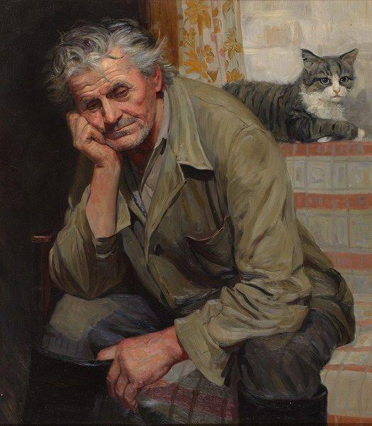 Татьяна Юшманова. Портрет дяди Саши Королёва. 1999 г. Холст, масло. 80х70 см