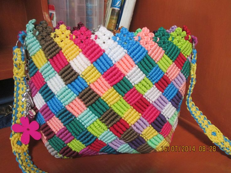 macrame bag with beautiful colour