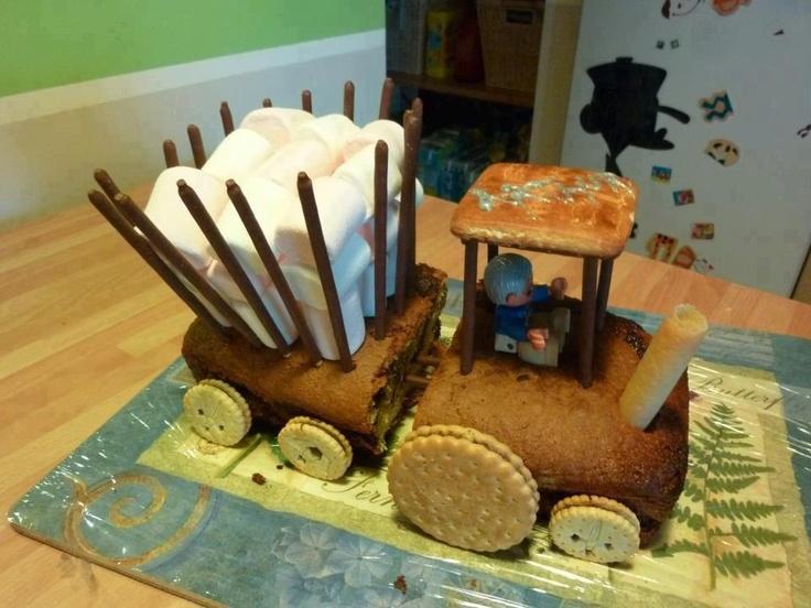 Gâteau en forme de tracteur.