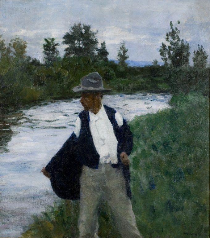 Károly Ferenczy, Untitled (known as Fürdés előtt [Before a Swim] or Fall Swim) October 1904, oil on canvas, 97.5 x 87 cm.