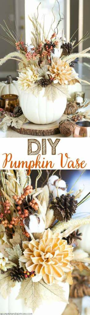 DIY pumpkin vase. Perfect idea for Thanksgiving decor and crafts. Get the tutorial from Pumpkin & a Princess. The flowers make it really come out.