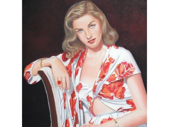 Portrait à l'huile de Lauren Bacall