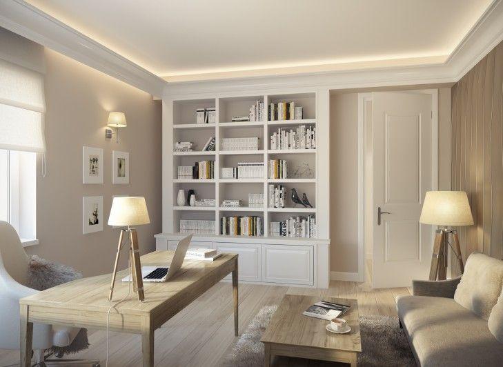 Projekt wnętrz gabinetu w jasnych barwach w domu pod Warszawą. Białe meble w gabinecie uzupełnione biurkiem z naturalnego drewna tworzą idealne miejsce do skupienia i pracy.
