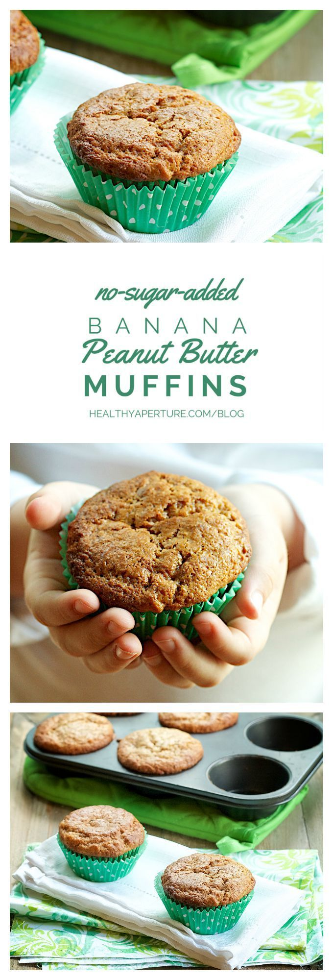 A quick and easy refined sugar free recipe for family favorite peanut butter and banana muffins. Made with oat flour and powdered peanut butter, these muffins are fiber-rich and offer a protein boost over regular breakfast muffins. Recipe by @ReganJonesRD on HealthyAperture.com.