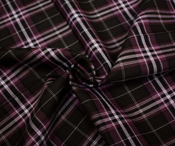 日本製上質ウール/ポリエステル混先染めツイル(綾織り)タータンチェック生地♪W巾150cm 防縮加工 布 布地 服地 通販 激安 チェック ウール生地 チェック柄 スカート パンツに