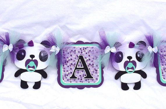 Panda banner panda baby shower baby shower by NancysBannerBoutique