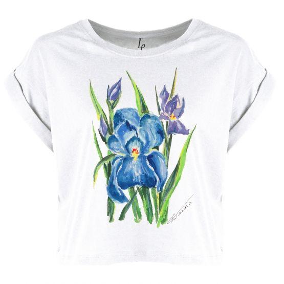 Blouse organic, watercolor irises flowers. Bluzka organic, akwarela z irysami. Prezent na Dzień Mamy