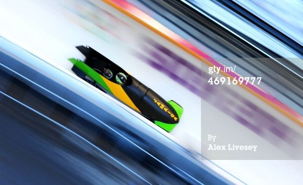 Winston Watts of Jamaica pilots a run during a Men's Two-man Bobsleigh training session on day 6 of the Sochi 2014 Winter Olympics at the Sa...