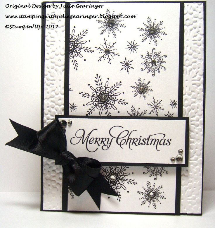 "Christmas card in black and white ... hybrid card with digital & ""real"" elements  ... elegant look ... Stampin' Up!"