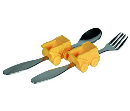 Perfect For Christmas, Xmas, Stocking Fillers, Birthdays, Easter Present Gift - Best Seller Learning Cutlery My First Spoon & Fork Set Fun Construction Truck - Boys Boy Child Children Kids - One Supplied