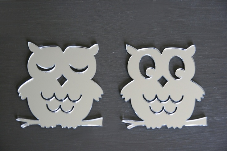 Baby Owls, set of 2 acrylic mirror owls. 10cm by 10cm, Available from our online store for $12.95 + postage. Cut from a high quality lightweight 3mm acrylic - Can be hung with Blu-tack.