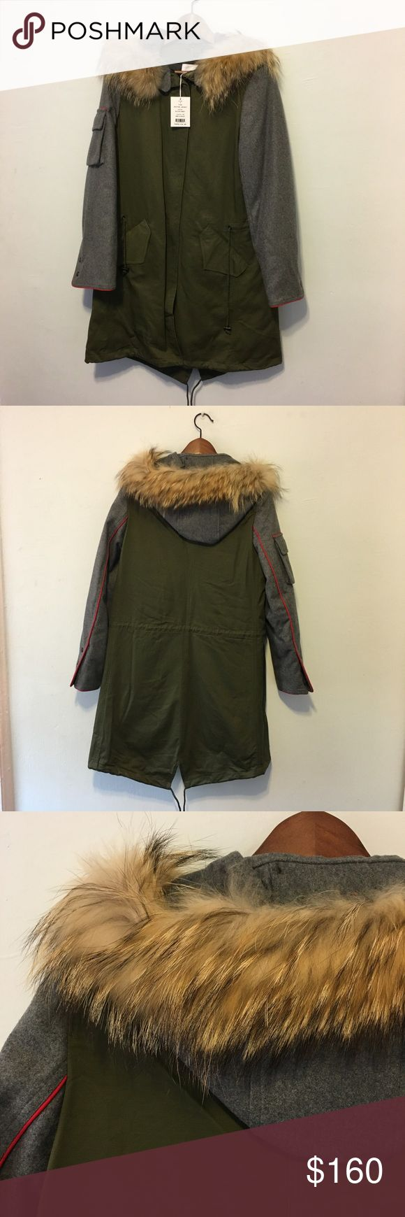 Walter Baker Fur Parka Olive green fur parka from Walter Baker.  100% real fur.  Never worn with tags.  Beautiful worn because the parka has very luxurious fur. Walter Baker Jackets & Coats Puffers