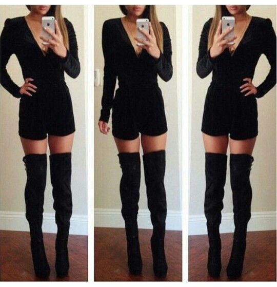 Black on black - romper with thigh-high boots