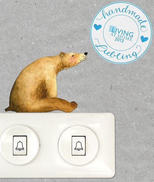 Lichtschalterfigur sitzender Bär von ADAMS-BRAUT auf DaWanda.com