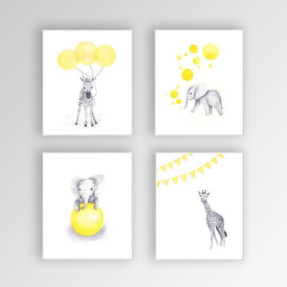 Canvas Art, Baby Nursery Decor, Yellow and Gray Nursery, Elephant Nursery, Safari Animals, Set of Four Canvas Prints