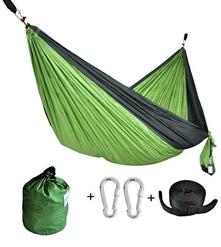 CUTEQUEEN TRADING Double Nest Ultralight Portable Outfitters Parachute Nylon Fabric Hammock For Travel Camping,Backpacking,Kayaking,Color: Green/black. For product & price info go to:  https://all4hiking.com/products/cutequeen-trading-double-nest-ultralight-portable-outfitters-parachute-nylon-fabric-hammock-for-travel-campingbackpackingkayakingcolor-green-black/