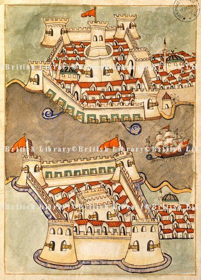 Anadolu ve Rumeli Hisarı-Two large fortresses on the Bosphorus; one on the Greek side and the other in Anatolia, Turkish Memories,  Cicogna Codex, Turkey 17th Century.