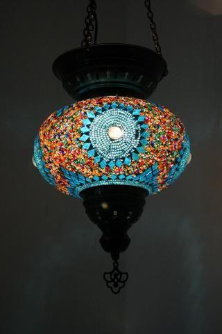 Blue Sun Handmade Turkish Glass Lamp