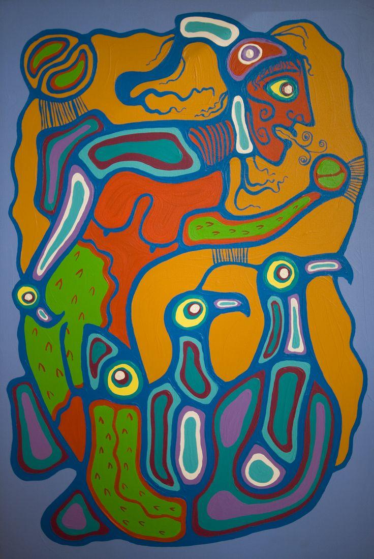 norval morrisseau paintings | Norval Morrisseau-Merman conjuring 1983. Original Paintings (Oils)