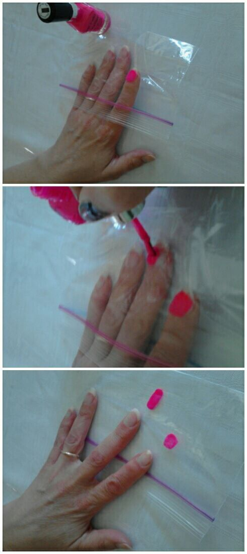 Use a ziplock bag to see how your nail polish will look...without actually painting your nail!