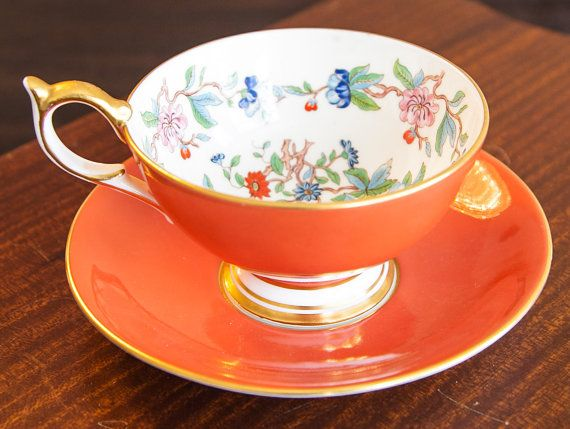 AYNSLEY orange tea cup beautiful orange with flowers by Lumakawa