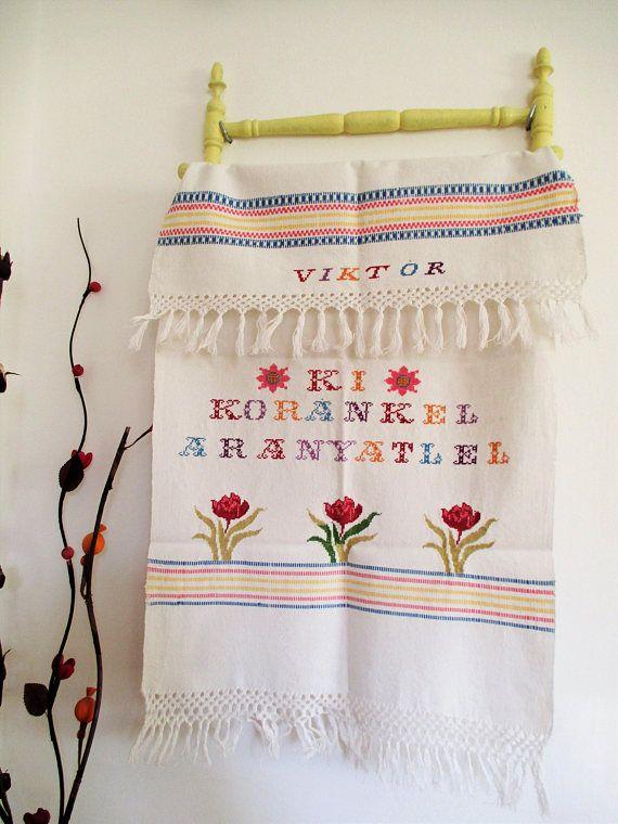 40. Vintage linen hand embroidered pure linen towel handmade