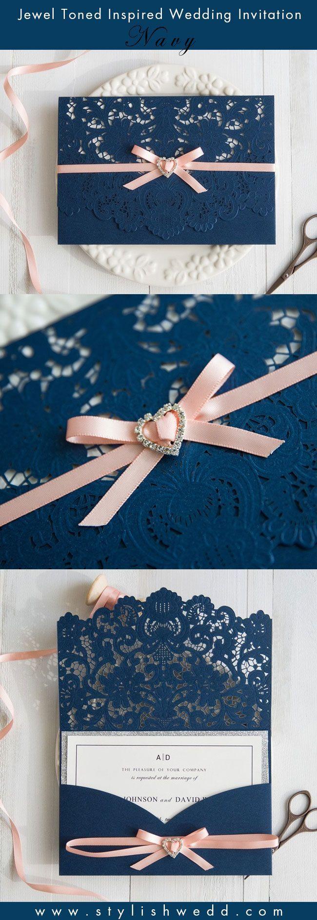 Elegant Navy Blue Laser Cut Pocket Wedding Invitations With Peach Ribbon SWWS028