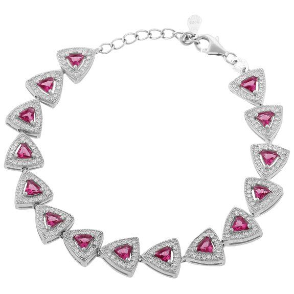 Define Jewellery Pink Silver American Diamond bracelet for Women (DFBC0041)
