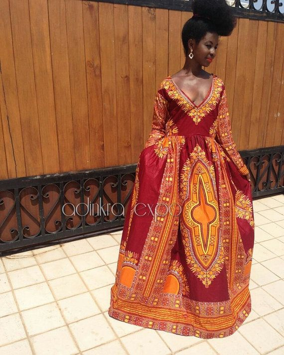 Elegant maxi ankara length dashiki gown available in a variety of colors available including dark red, yellow, white, black and pink. these dresses