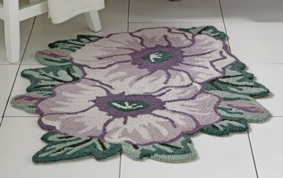 Purple poppy floral bathroom accent rug beautiful for Rugs with purple accents