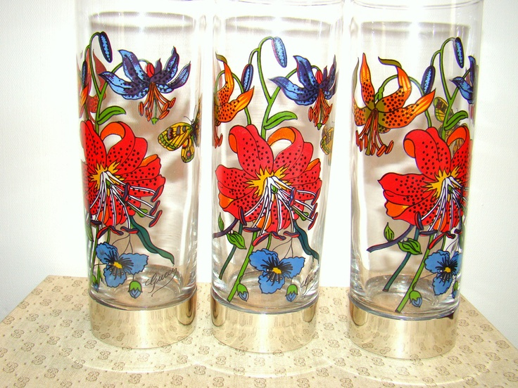 Vintage GUCCI Cocktail Glasses / Set of 6 / Tom Collins Barware / Designer 1970s / Rare
