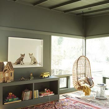 Kids Hanging Chair, Transitional, boy's room, Benjamin Moore Caldwell Green, Reath Design