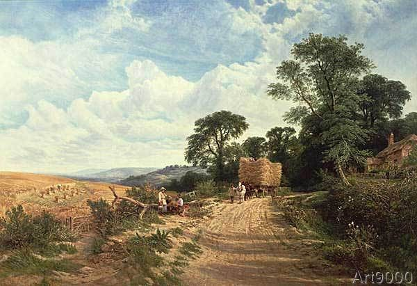George Vicat Cole - Landscape - Harvest Time, 1865