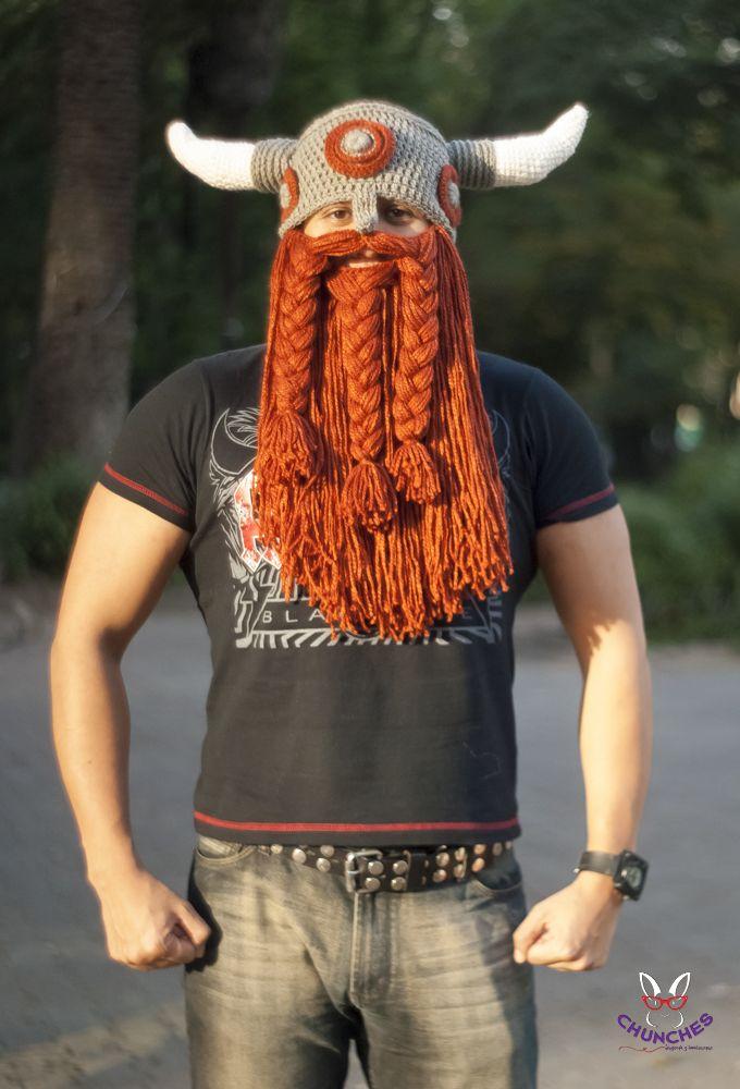 Gorro vikigo crochet con barba. Perfecto para el frío. Dale Like a Chunches en Facebook: https://www.facebook.com/chunches.accesorios