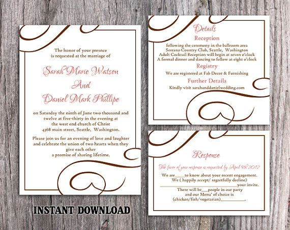 DIY Wedding Invitation Template Set Editable Word File Instant Download Elegant Printable Invitation Pink Wedding Invitation Pink Invitation by TheDesignsEnchanted on Etsy