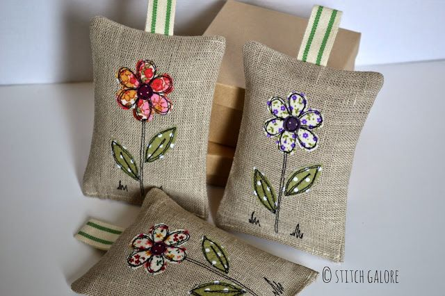 Handmade Lavender Bags Decorated with applique and free motion machine embroidery by Stitch Galore  www.stitchgalore.com