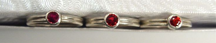 Stellae Rubeae - Red Sapphire and Argentium Ring Set