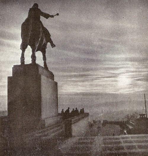 Vitkov hill, Prague by J.Illig, 60's - ,monument of Jan Zizka