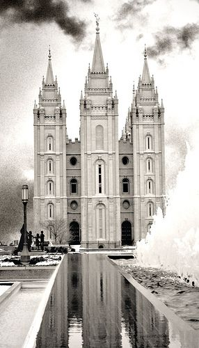 Salt Lake LDS/Mormon Temple. I love the black and white with the unconventional setting of this shot.