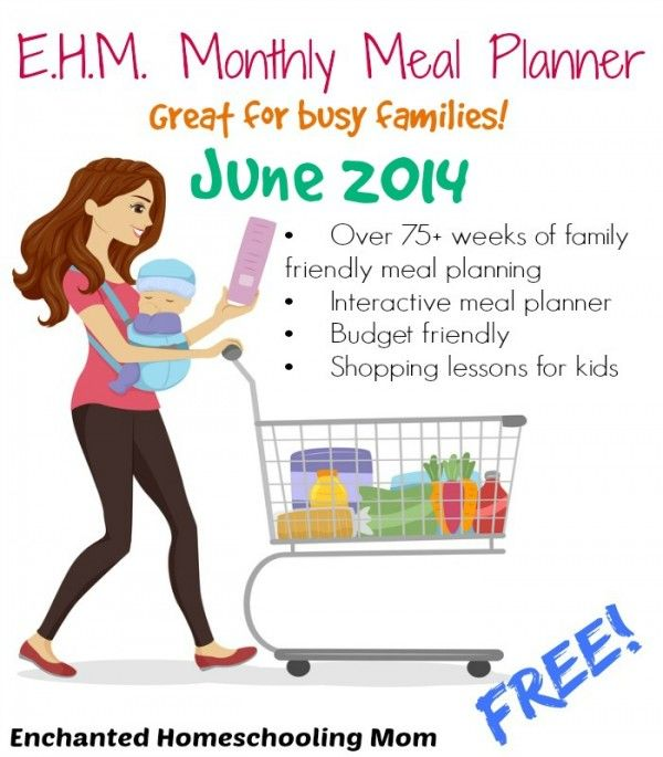 Download a free printable monthly meal planner from Enchanted Homeschooling Mom. This meal planner includes: 75 weeks of family-friendly meal planning, interactive meal planner, budget-friendly recipes, and shopping lessons for kids