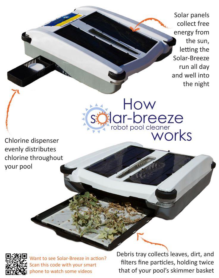 Robot cleans your pool with solar energy.  Vote for Solar-Breeze at GetOnTheShelf https://getontheshelf.walmart.com/product/1e0b/Solar-Breeze