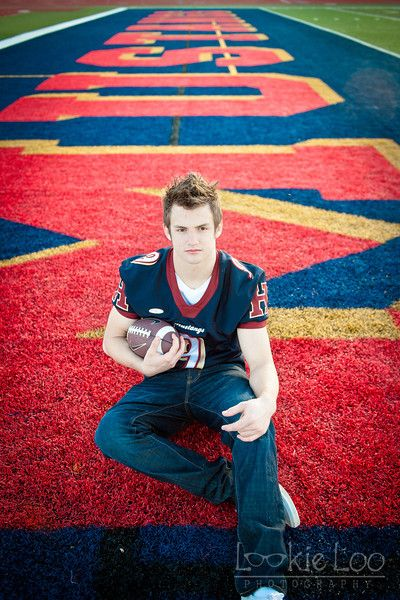 Football senior, on the football field